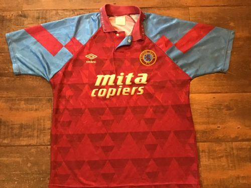 1990 1992 Aston Villa Home Football Shirt Large